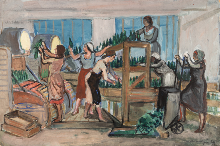 A SOVIET PAINTING OF A GLASS FACTORY SCENE BY AXELROD, 1936