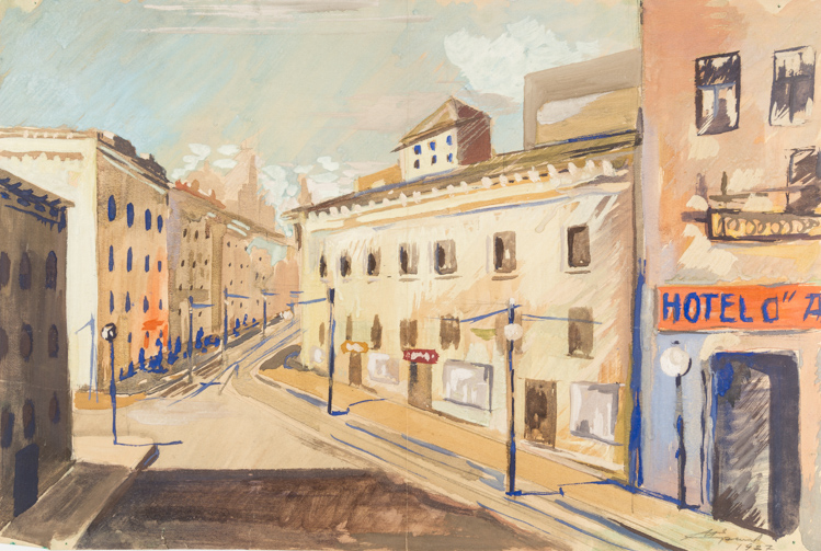 A RUSSIAN WATERCOLOR OF A EUROPEAN STREET BY ERSHOV, 1927