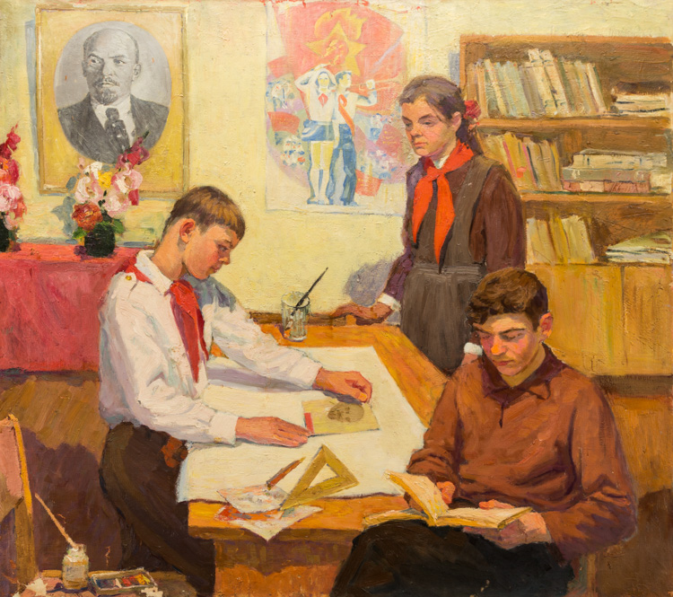 A RUSSIAN PAINTING OF STUDYING PIONEERS, CIRCA 1920-30S