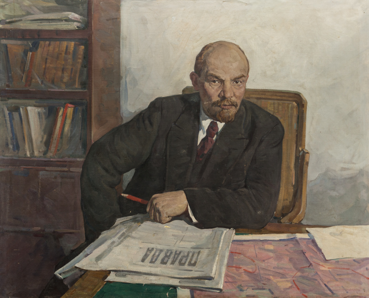 A RUSSIAN PAINTING OF LENIN IN HIS OFFICE, CIRCA 1940-50S
