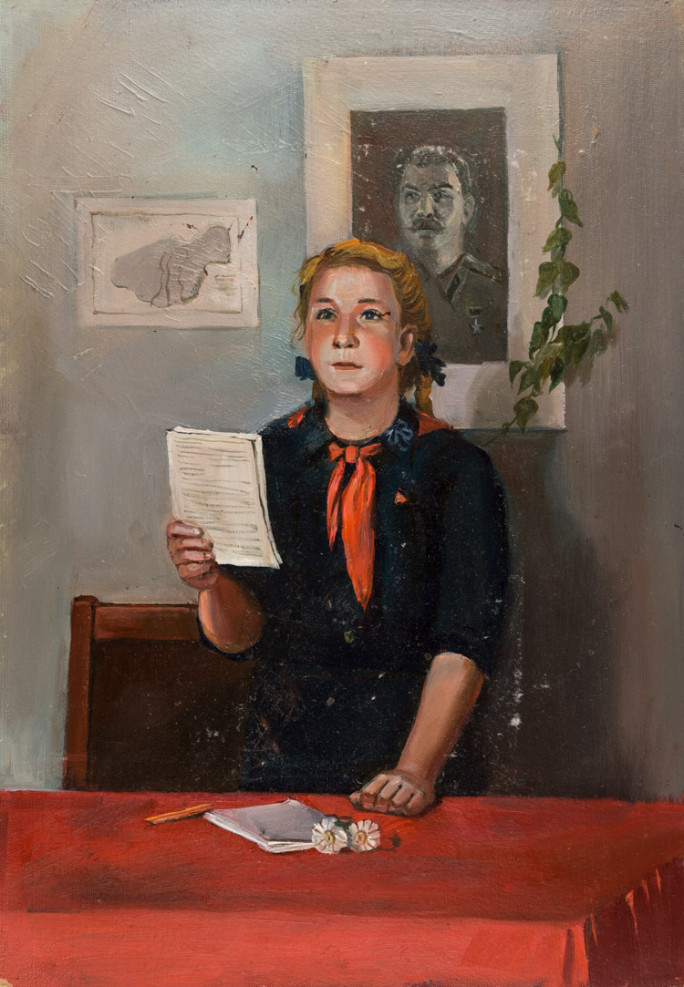 A RUSSIAN PAINTING OF A PIONEER BY ZAHARENKOVA, 1957