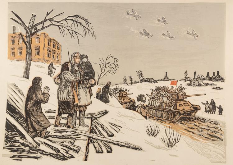 A SOVIET LINOCUT OF A WAR SCENE BY SOLOVIEV, CIRCA 1950S