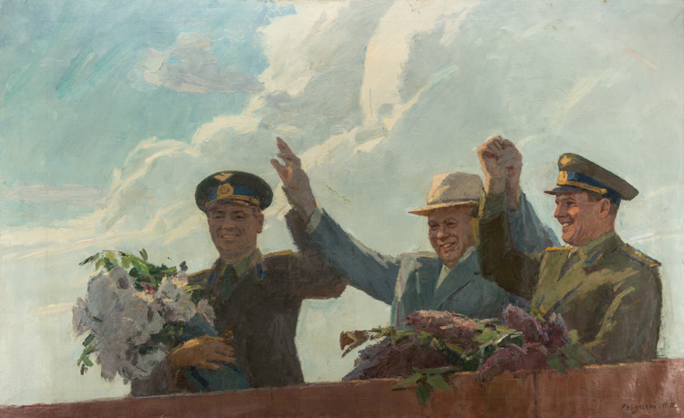 A RUSSIAN PAINTING OF HEAVENLY BROTHERS BY RUBINSKY, 1965