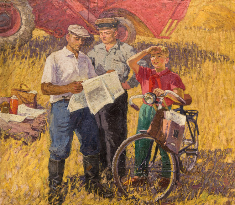 A RUSSIAN PAINTING OF TWO MEN AND A PIONEER BOY IN THE FIELD, CIRCA 1920-30S
