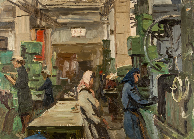 A RUSSIAN FACTORY SCENE BY KUVIN, CIRCA 1940S