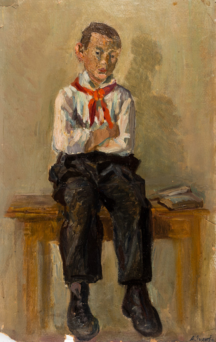 A RUSSIAN PAINITING OF A PIONEER BY YAKUSHEVA, 1951