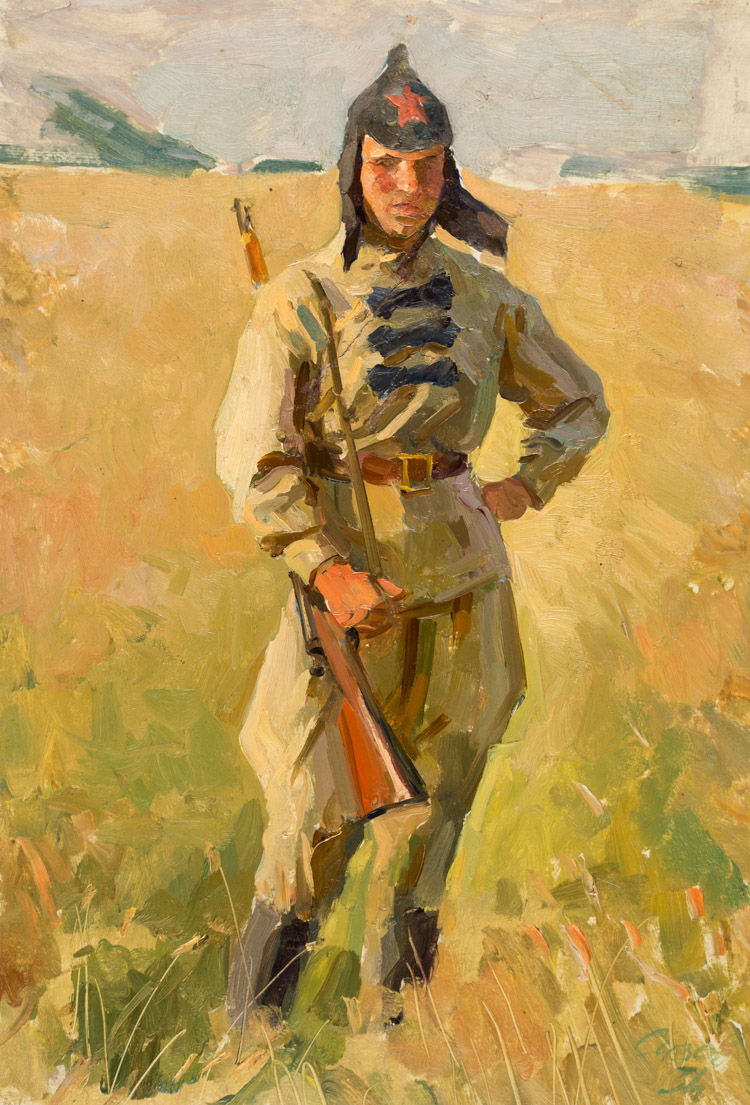 A RUSSIAN PAINTING OF A SOLDIER BY SIZOV, 1934