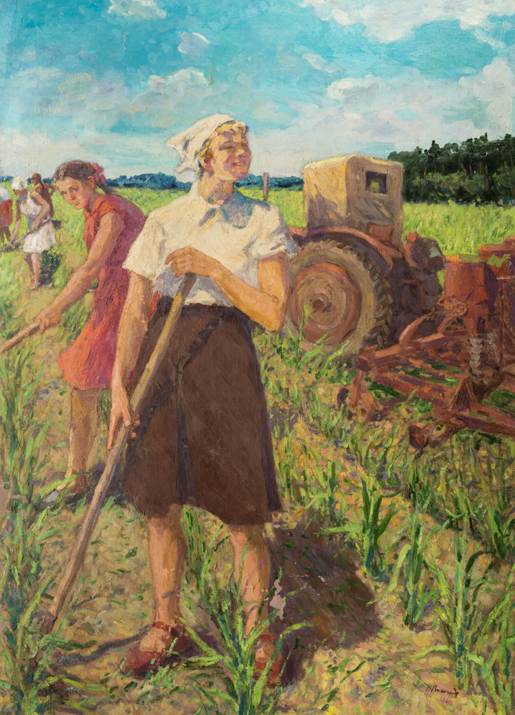 A RUSSIAN PAINTING OF KOLKHOZ WOMEN WORKING IN THE FIELD BY LIKHACHEV, 1960