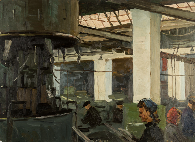 A RUSSIAN PAINTING OF A FACTORY SCENE BY KUVIN, 1959