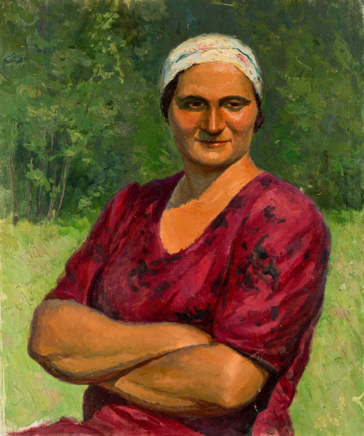 A RUSSIAN PAINTING OF A WOMEN IN RED, CIRCA 1950S