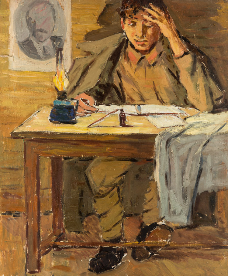 A RUSSIAN PAITNIG OF A STUDENT BY KUVIN, 1955