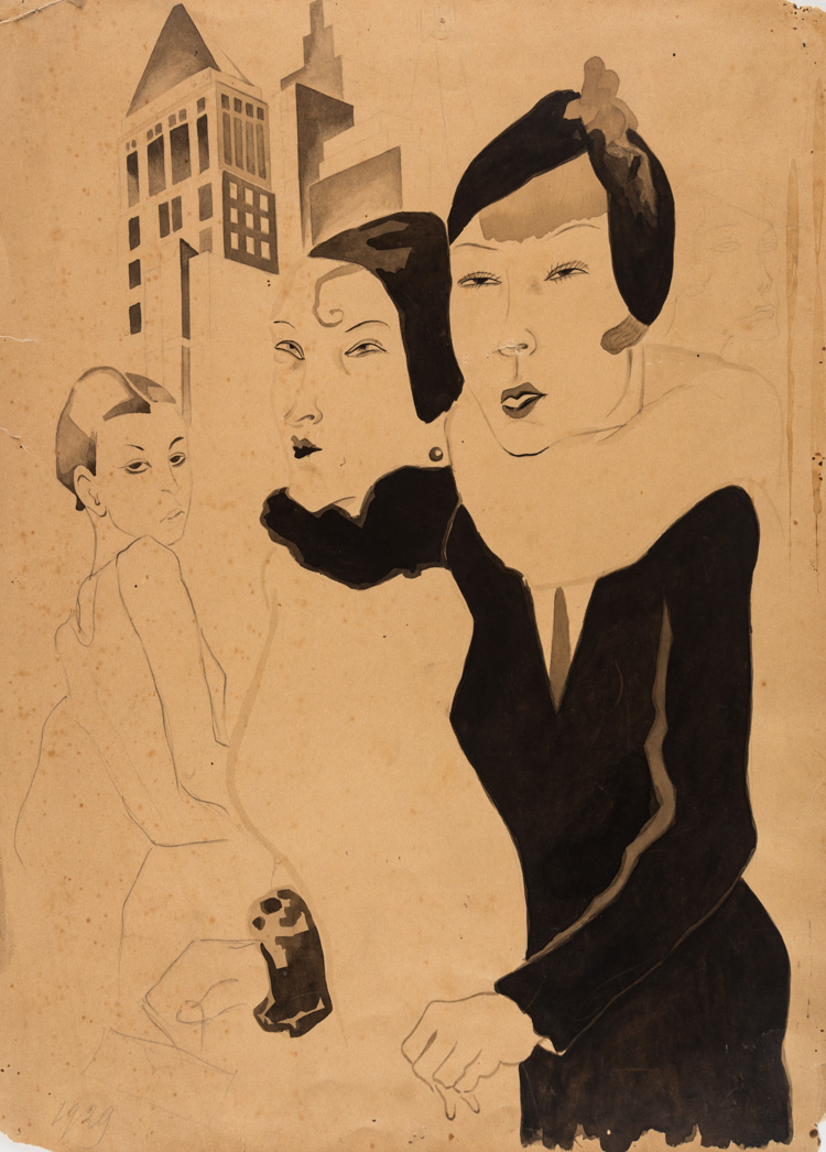 A RUSSIAN DRAWING OF LADIES OF THE STREET, 1929