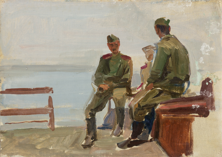 A SOCIALIST REALIST PAINTING OF SOLDIERS BY RABINOVICH, 1951