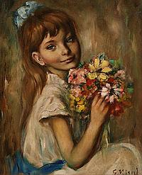 """GEORGETTE NIVERT (FRENCH 20TH CENTURY), """"Girl with"""
