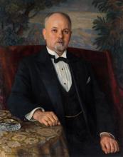 NIKOLAY BOGDANOV-BELSKY (RUSSIAN 1868-1945), Portrait of A. T. Goncharov, 1935, oil painting
