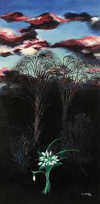 MALLE LEIS (ESTONIAN B. 1940), 'Trees ' 1988, oil