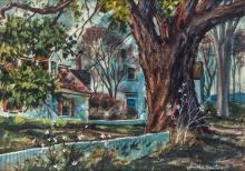 JOSEPH L. SANTORO (AMERICAN 1908-1996), Suburban Landscape in Spring, Watercolor Drawing