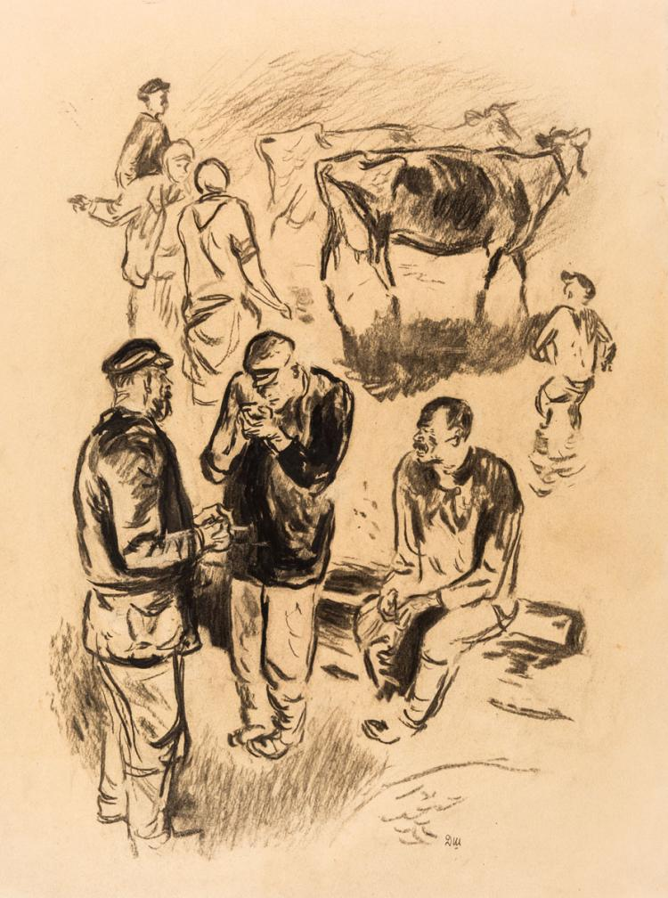 A RUSSIAN SOCIALIST REALIST DRAWING OF A SCENE IN THE FIELD BY SHMARINOV, CIRCA 1940S