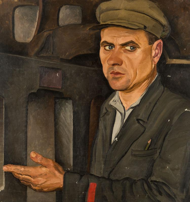 A RUSSIAN SOCIALIST REALIST PORTRAIT OF A WORKER BY TROSHIN, 1936