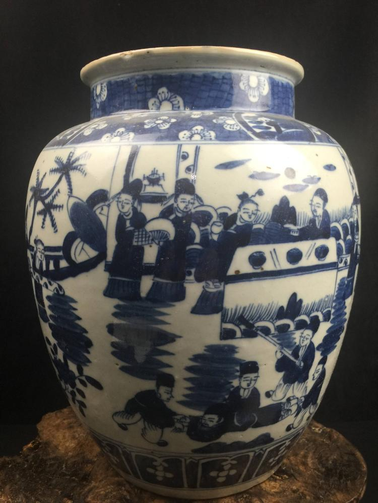 Chinese Fine Blue & White Porcelain Jar