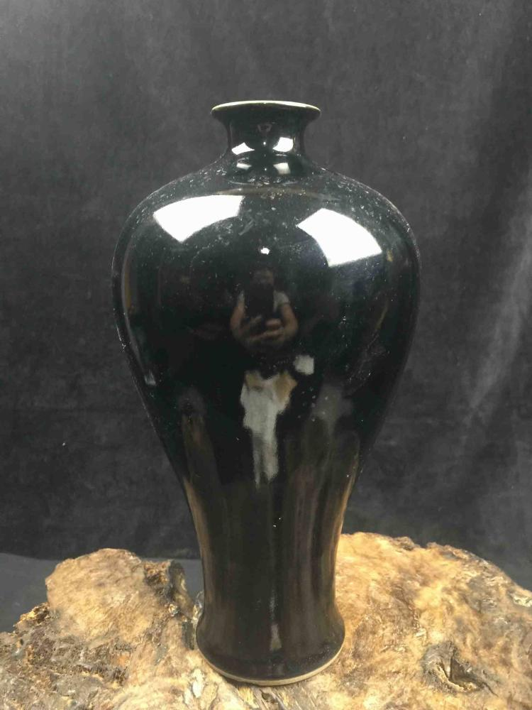 Chinese Famille Rose Vase with Black Ground