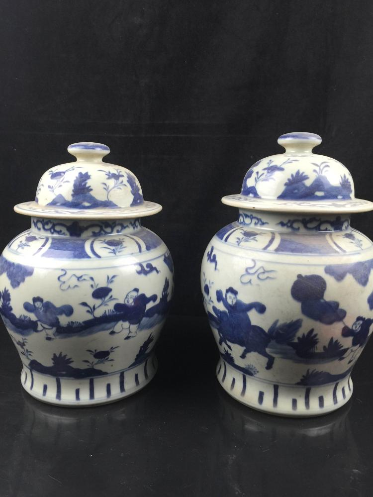 A Pair of Chinese Porcelain  Blue & White Jar