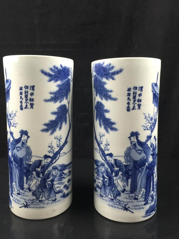 A Pair of Chinese Porcelain  Blue & White Hat Stand