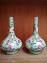 A Pair of Chinese Famille Rose Vase(Tian Qiu Ping)