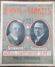 Giants Vs. Yankees 1921 Program World Series