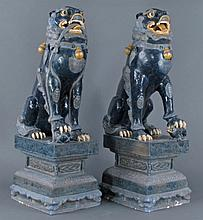Pair Asian PORCELAIN Foo Dogs