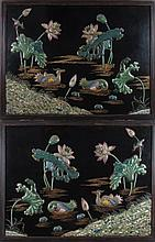 Pair Mounted Cloisonne Chinese Wall Panels