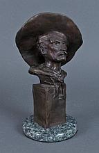 Bronze Bust of a Cowboy Signed Frederic Remington