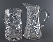 American Brilliant Cut Glass Pitchers, Fry &Other