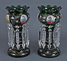 Pair Bohemian Hand Painted Mantle Lusters