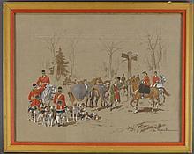 de Marcillac (French, 20th c), Gouache Hunt Scenes