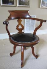 Ca. Late 1800 Walnut Swivel Desk Chair