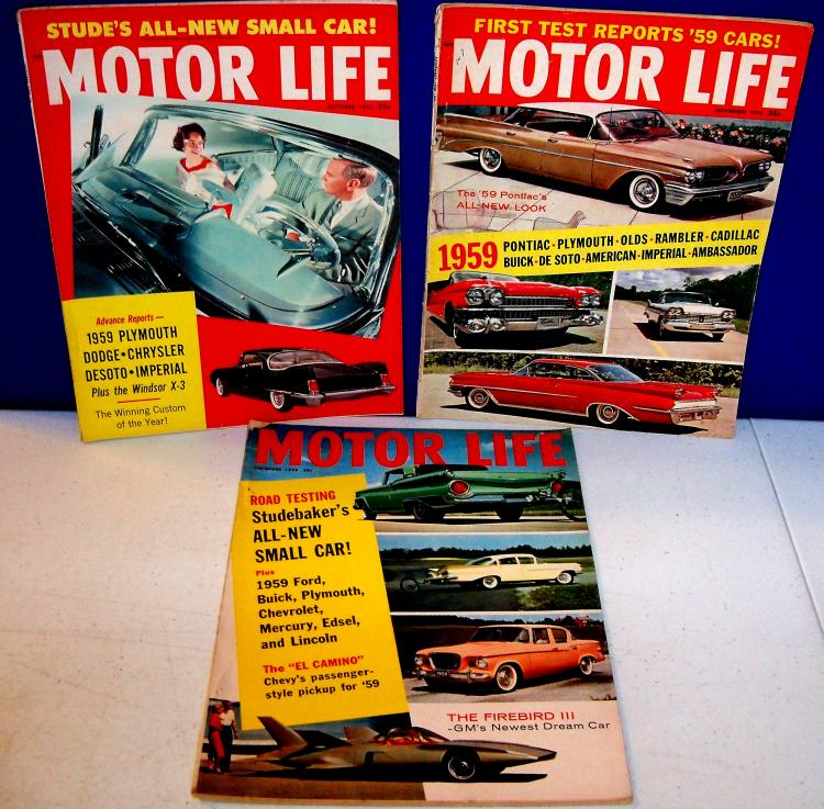 Vintage Car Magazines 1958 MOTOR LIFE MAGAZINES January- May