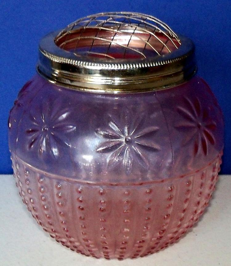 2003 ASP PINK GLASS JAR Round Floral Motif Glass Jar with