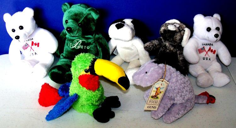 7 Mixed Lot Stuffed Animals Animal Alley Gund Bellagio Canada Usa