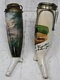2 German Lidded Porcelain Pipes w/ Painted Scenes
