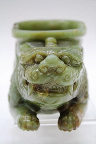 Chinese Carved Green Jade Animal Cup