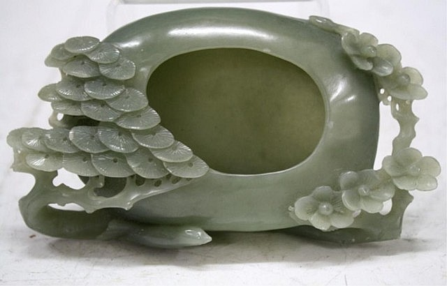 Chinese Carved Green Jade Brush Washer