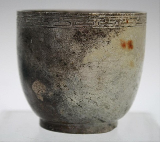 Chinese Carved Chicken Bone Jade Cup