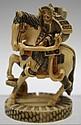 Japanese Hippo Ivory Samurai on Horseback