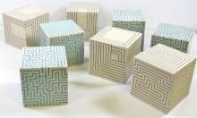 Joo Ji Wan Celadon and White Stoneware Octet