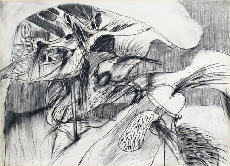Charcoal by Don Ahn, w/ original '65 gallery label