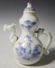 Chinese Blue & White Dragon Teapot W/ Figure & Lid