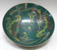 Chinese Polychrome Ding-Yao Bowl W/ Phoenixes