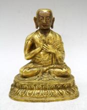 Chinese Gilded Bronze Sitting Buddha, 19th Century