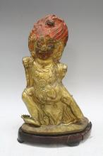 Tibetan Wrathful Figure in Guilt Copper Repousse